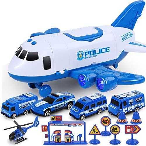 Camiones Coche Avión Juguetes Juego extinción de incendios Transporte Vehículo de carga, Mini avión con 4 camiones de bomberos, 7 barreras de carretera, Juego de juguetes de construcción Regalo