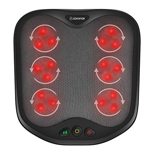 Comfier Shiatsu Foot Massager with Heat- Kneading Foot & Back Massager with Washable Cover, Feet Warmer for Men,Women, Electric Feet Massager Machine for Plantar Fasciitis,Foot