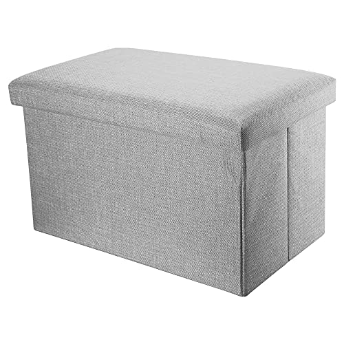 Intirilife Faltbare Sitzbank 49x30x30 cm in Alaska GRAU - Sitzwürfel mit Stauraum und Deckel aus Stoff in Leinen Optik - Sitzcube Fußablage Aufbewahrungsbox Truhe Sitzhocker