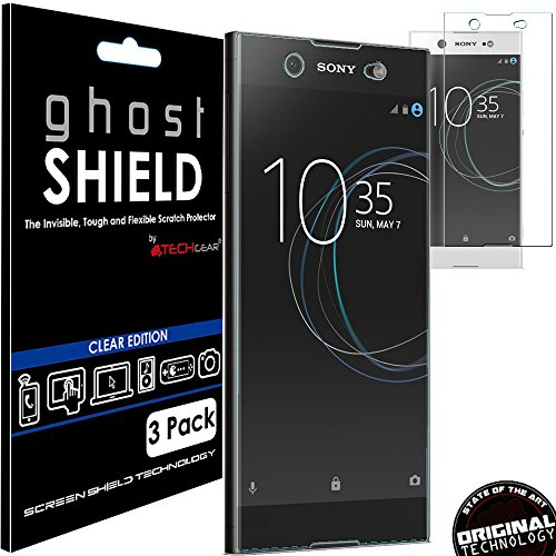 TECHGEAR [3 Stück Displayschutz Kompatibel mit Sony Xperia XA1 Ultra - [ghostshield] Genuine verstärkte TPU Displayschutzfolie Guard mit Gesamte Bildschirm Deckung inkl. Gebogener Bereich