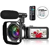 Videocámara Vlogging Videocámara para YouTube Full HD 2.7K 30FPS 30MP IR Visión Nocturna 3 Pulgadas Pantalla Táctil Videocámara Videocámara con Control Remoto Micrófono Parasol