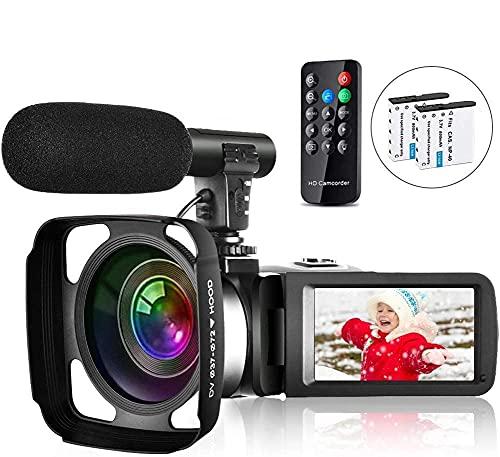 Videokamera Camcorder Vlogging Videokamera für YouTube Full HD 2.7K 30FPS 30 MP IR Nachtsicht 3-Zoll-Touchscreen-Camcorder mit Mikrofonfernbedienung Gegenlichtblende