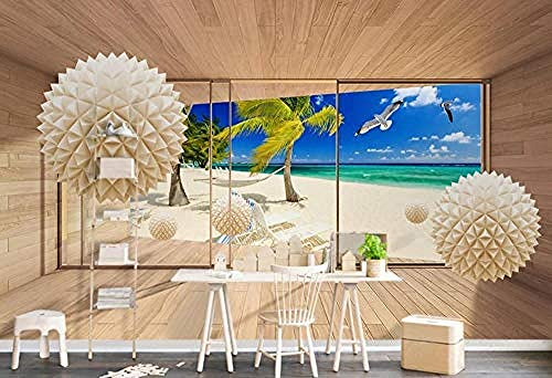 Orb Space Coconut Bird Living Room Bedroom tudy Room Home Decor Background Wall Papers 3D Wallpaper Paste Living Room The Wall for Bedroom Mural-150cm×105cm