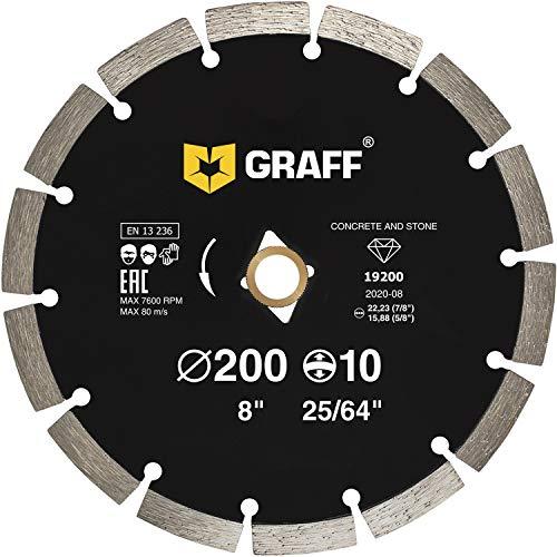 "GRAFF Diamond Blade for Angle Grinder - Diamond Cutting Wheel for Cutting Stone, Marble, Granite, Brick, Masonry, Paving Flag, Concrete - Diamond Saw Blades Segment Height 0.394"" (10 mm) - 8 inches"
