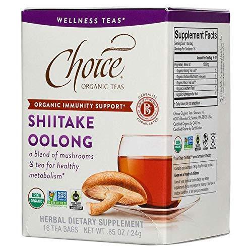 TEAS SHIITAKE OOLONG MUSHROOM ORGANIC WELLNESS TEA 16 TEA BAGS