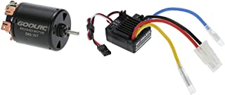 GoolRC 540 35T 4 Poles Brushed Motor and WP-1060-RTR 60A Waterproof Brushed ESC Electronic Speed Controller with 5V/2A BEC for 1/10 RC Car