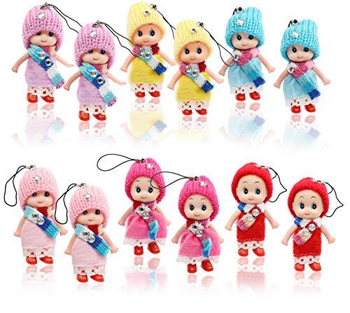 COM-FOUR® 12x pluche pop als geluksbrenger, sleutelhanger en sieraden voor mobiele telefoons [kleurkeuze varieert] (12 stuks - hangende pop met jurk)
