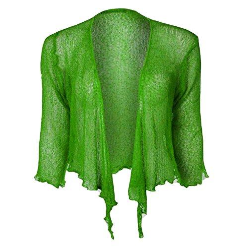 Hamishkane - Cardigan da donna con maniche a 3/4, a doppia fine, in maglia bali, tieup bolero Verde mela 44-46