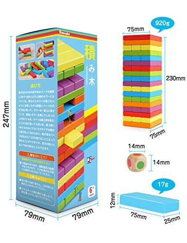 Homraku木製バランスゲーム立体パズル積み木ブロックドミノブロックテーブルゲーム子供も大人も老若男女楽しめるおもちゃ(6カラー54PCS)