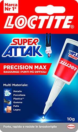 Loctite Super Attak Precision Max, Colla liquida trasparente con beccuccio extra lungo, Colla universale istantanea multimateriale, Colla resistente e precisa, 1 x 10 g