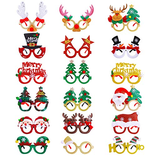 Aneco 18 Pack Christmas Decoration Glasses Glitter Xmas Eyeglass Frames Christmas Costume Glasses Decoration Colorful Funny Christmas Party Gifts Assorted Styles for Christmas Party Favors
