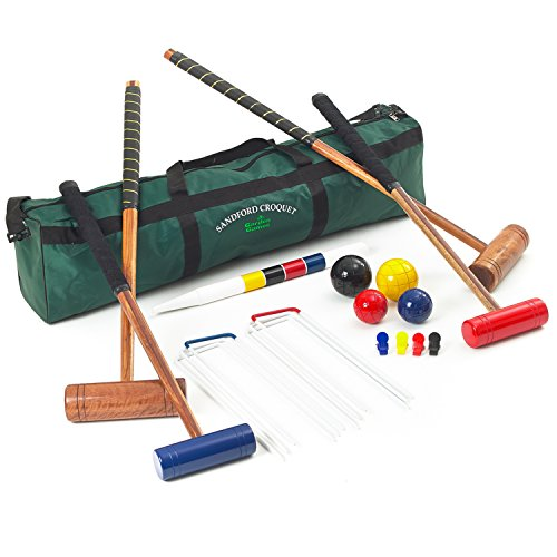 Sandford Croquet Set - 4 Player Family Croquet Set with 2 Adult and 2 Children's Mallets in a Storage Bag from Garden Games