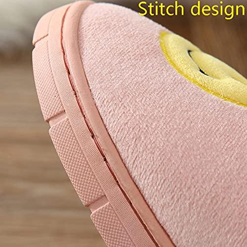 QAZW Invierno Cálido Felpa Pantuflas Homewear Pantuflas Pantuflas Suela Suave Mujer Zapato Interior Parejas Casa Zapatilla Viscoelástica Mullidas Pantuflas Invierno Antideslizante,Yellow-36/37EU