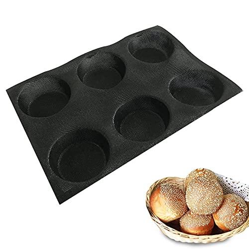 Baker Boutique Molde para panecillos de silicona antiadherente, molde de silicona mate, perforado, redondo, negro, molde de hamburguesa flexible, molde para 10 cm, 6 cavidades