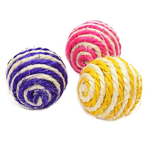 Demarkt Katze Sisal Seil Ball Rassel Scratcher Spielball Kauen Spielzeug Kätzchen Kugel Bälle für Haustier Katzen Hunden 3 Stück