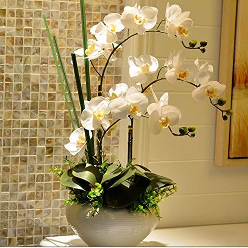GE&YOBBY Finto Orchidea,Seta Fiore Finto Realistico con Vaso Bianco Composizione Floreale Artificiale Stile Cinese in Vaso-c 42x56cm(17x22inch) 42x56cm(17x22inch)