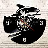 FDGFDG Scary Shark Wall Art Vinyl Record Clock Great White Shark Wall Clock Ocean Animals Lover Gift Jaws Clock