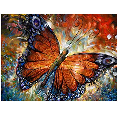 artaslf DIY 5D diamante pintura animal mariposa kit de punto de cruz taladro completo diamante bordado mosaico imagen de diamantes de imitación hogar-40x50cm sin marco