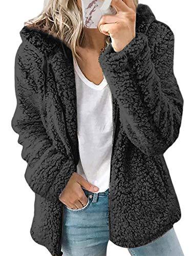 Womens Teddy Bear Coats Winter Warm Hoodies Zip Up Plain Jacket Fleece Hooded Jumper Sweatshirt M Black