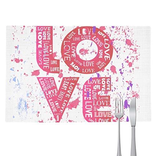 Jogo americano com estampa de amor rosa para o Dia dos Namorados Almofada resistente ao calor para cozinha
