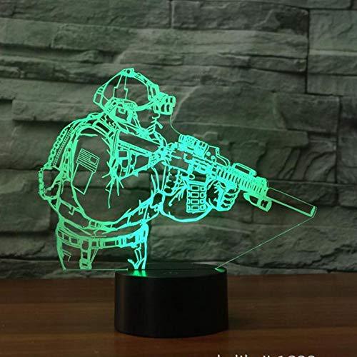Soldat 3D Lampe Bunte Touch Allmählich Führte Visuelle Led-Nachtlicht Geschenk Dekoration Tischlampe Schöne Cartoon Kinder Spielzeug