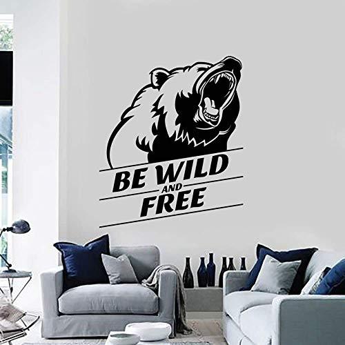 57X72Cm Vinyl Wandtattoo Wild Und Frei Grizzly Kopf Tier Aufkleber Wandbild, Wohnkultur Wohnzimmer Wand Mode Aufkleber
