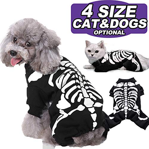 AMENON Halloween Costumes Pets Dogs Cats Bat Wings Skeleton Spider Pets Costume for Small Medium...
