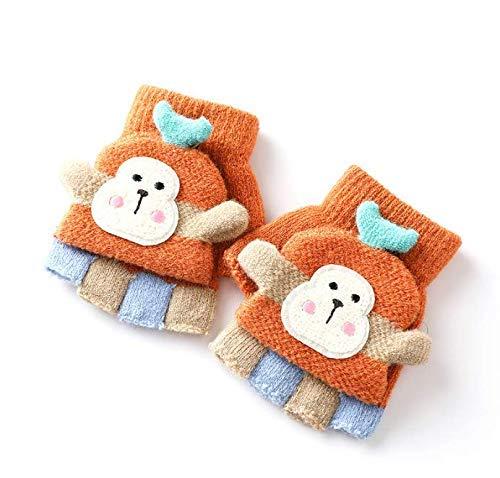Unikeyhome, 1 par de guantes de invierno para niños de medio dedo, de dibujos animados para niños de cinco dedos, de la escuela primaria, para escribir lana, sin dedos (color al azar)