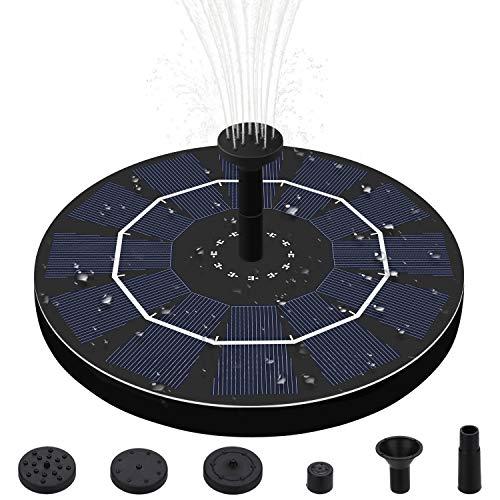 Solare Fontana Pompa,2.5W Solare Pompe Laghetto Acqua con 6 Effetti Pompa ad Acqua Solare per Bagno per Uccelli,Acquario,Stagno o Decorazione del Giardino
