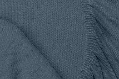 #20 Double Jersey Jersey Spannbettlaken, Spannbetttuch, Bettlaken, 160x200x30 cm, Anthrazit - 2