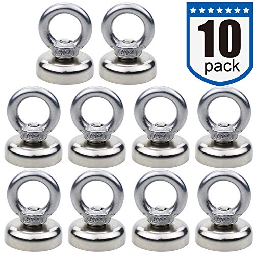 Magnetic Hooks 40 lbs18 KG Pulling Force Rare Earth Magnetic Hooks with Countersunk Hole Eyebolt for Home Kitchen Workplace Office and Garage Pack of 10