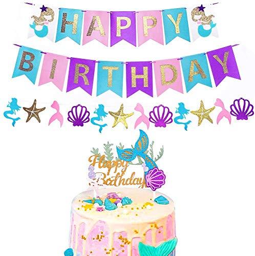 Kindergeburtstag Deko Meerjungfrau,Mermaid Happy Birthday,Mermaid Party,Happy Birthday Banner,Meerjungfrau Geburtstagsparty Dekorationen,Cupcake Meerjungfrau