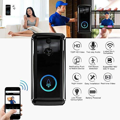 Lsmaa Video Deurbel, Draadloze HD WIFI Beveiligingscamera met Indoor Chime, Real-Time 2-Way Talk Video, Nachtzicht, PIR Bewegingsdetectie en App Control