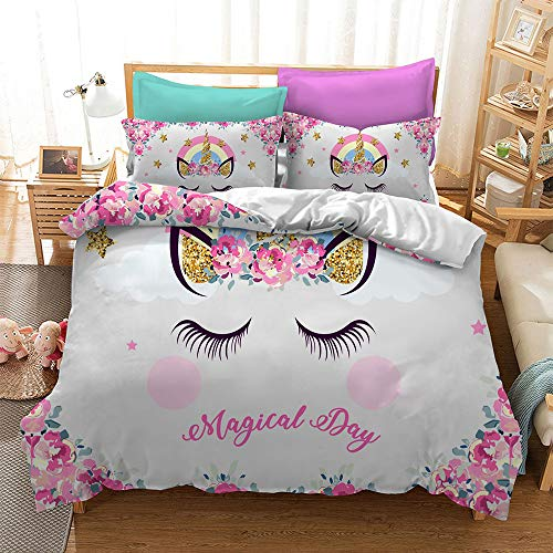 ADASMILE A & S Unicorn Bedding Set Full Floral Feather Eyelashes Unicorn Head with Pink Gold Stars Background White, 2 Pillowcases 1 Duvet Cover