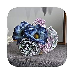 #N/D New Nordic Peony Bouquet Anemone Wedding Bridal Bouquet Silk Artificial Flowers DIY Scrapbook Flores artificiales Room Decor-Blue