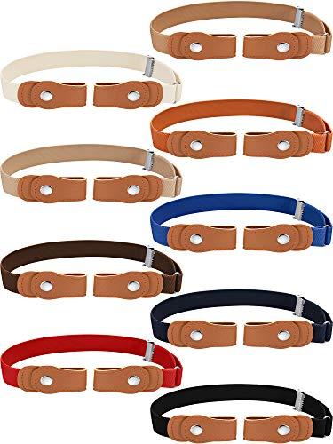 9 Pieces Buckle-free Kids Belts Adjustable Elastic Belts Stretch Waistbelt for Boys and Girls