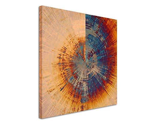 Paul Sinus Art Quadratische Fotoleinwand 90x90cm Vintage Gemälde eines Baum Querschnitts auf Leinwand Exklusives Wandbild Moderne Fotografie für ihre Wand in vielen Größen