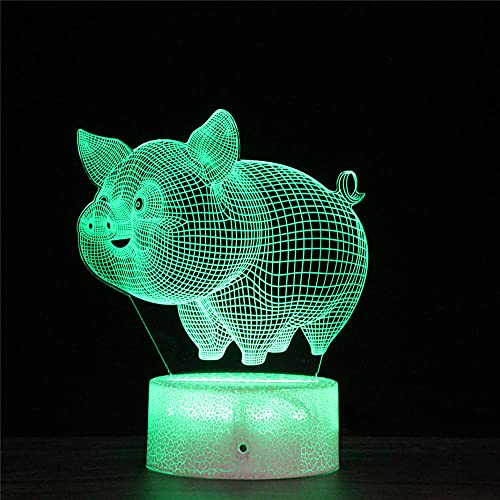 3D Night Light. Pig 3D Illusion Night Lamp 16 Colors Changing Night Light with with Remote Control, Birthday Gift for Boys