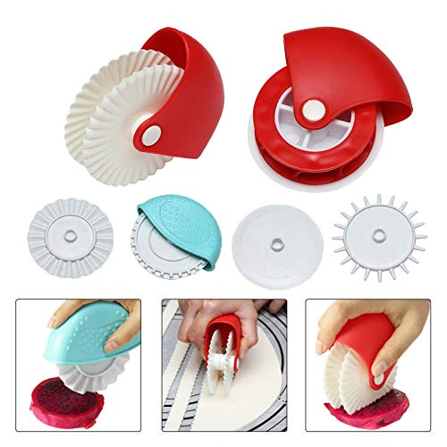 Pastry Wheel Decorator and Cutter,Set of 6 Beatiful Pie Crust, Pizza Pastry Pie Lattice Decoration for Baking Pizza Pastry lattice Decoration Tools