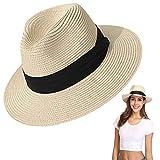 Amycute Sombrero de Paja Verano, Plegable Sombrero de Playa Transpirable para el Sol Mujeres Visera Sombrero para Ocio al Deporte Aire Libre(Beige)
