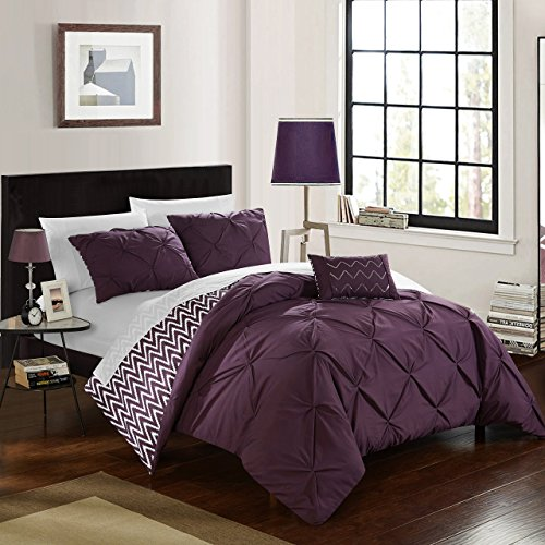 Chic Home CS2289-AN Jacky 4Piece Jacky Pinch Pleated, Reversible Chevron Print Ruffled & Pleated Complete Full/Queen Comforter Set Purple Shams & Decorative Pillows Included,Purple,Full/Queen