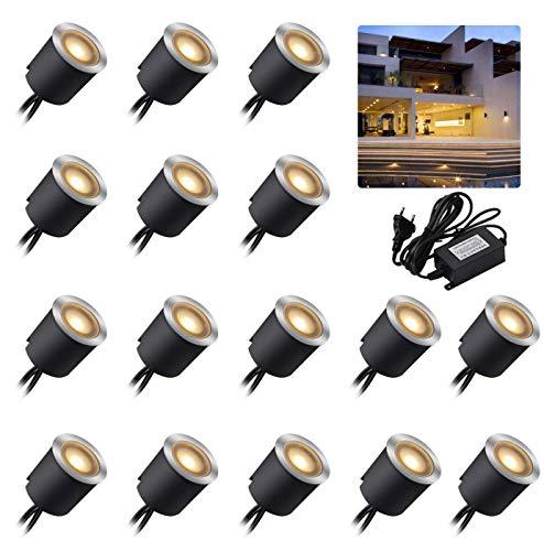 Arotelicht juego de 16 unidades Foco LED empotrable de 12V,Suelo Led, IP67, resistente al agua,2800K,color blanco cálido,0.6W, diámetro de 32mm, para terraza, cocina, jardín, luz decorativa de