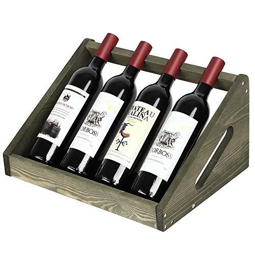 Casier à vin rustique en bois pour 4 bouteilles de vin, pour bar, cave, armoire, garde-manger, vert olive