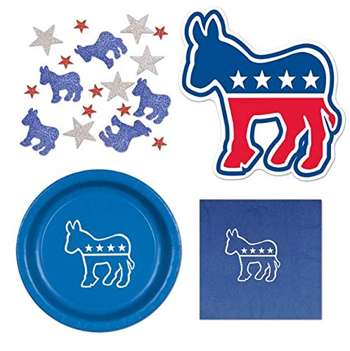 Beistle Democrat Election Party Decorations Kit for Primary Night Parties with Donkey Cutouts, Democratic Confetti, Plates and Napkins for 16 Guests