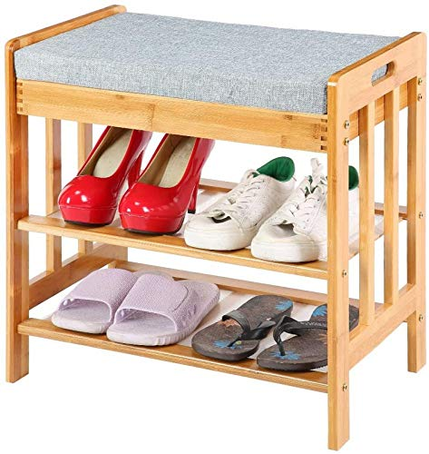 ZCYY Zapatero Organizador de Zapatos Banco para Cambiar Zapatos, Banco de Almacenamiento de bambú Grueso de Nivel con cojín a Prueba de Polvo, en un Conveniente Pasillo de Entrada