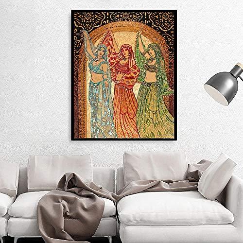 WADPJ Abstracte muurkunst afdrukken Posters van de Turkse mythologie Psychedelische buikdans Boho Zigeuner Canvas Schilderij Foto-50x70cmx1 stuk geen lijst