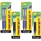 Pilot Precise V5 RT Retractable Rolling Ball Pens, Extra Fine Point, Black Ink, 6 Pens (4-Pack/Bundle, Blue)
