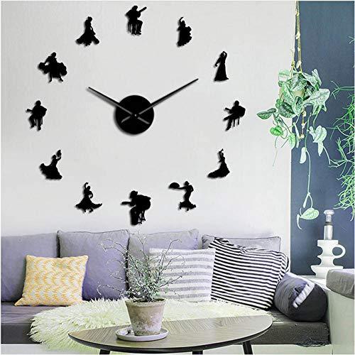 xtmyz Relojes de Pared Bricolaje Bailarines de Flamenco Efecto Espejo Big Time Reloj de Pared Bailarina española Silueta Reloj de Pared Grande Estudio de Baile Decoración de Arte de Pared única