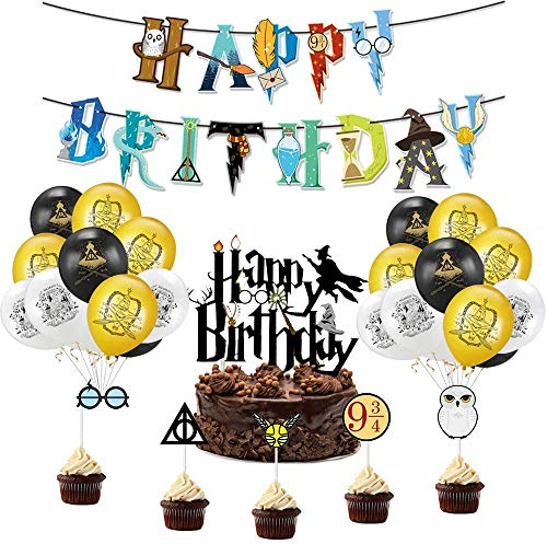 BlinBlin Harry Potter - Juego de suministros para fiesta de cumpleaños, pancarta de feliz cumpleaños, globos, decoración para tartas, decoración para cupcakes, decoraciones para fiestas temáticas HP