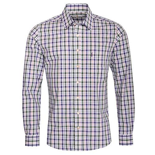 Almsach Herren Trachtenhemd Slim-Fit Slim-Line Trachten-Mode traditionell-kariert s-XXL viele Farben, Größe:S, Farbe-Zweifarbig:Lila/Tanne
